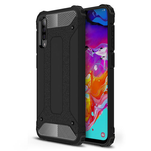 Military Defender Tough Shockproof Case for Samsung Galaxy A70 - Black